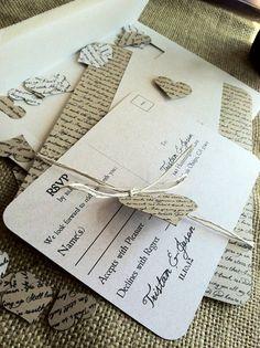 RUSTIC Wedding Invitation - Lyrical Love Collection - Song Lyrics - VINTAGE - Heart - Custom - Recycled - Eco Friendly
