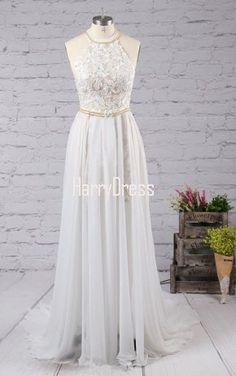 White A Line Halter Chiffon Sweep Train Split Front Long Prom Dress