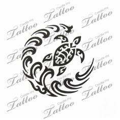 Turtle tribal tattoo design
