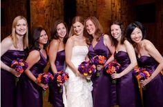 Fashion Tips for Fall Bridesmaids - LesJardins Bridesmaids And Groomsmen, Wedding Bridesmaids, Cadbury Purple Wedding, Bridal Gowns, Wedding Gowns, Purple Bridesmaid Dresses, Purple Dress, Autumn Bride, Fall Wedding