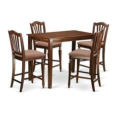 East West Furniture YACH5MAHC 5 Piece High Table and 4 Counter Height Dining Chair Set ** Continue to the product at the image link. (This is an affiliate link and I receive a commission for the sales)