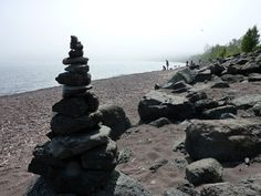 Lake Superior cairn. people make rock towers all the time