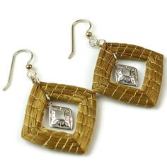 Square Earrings, Diamond Shaped Golden Grass Earrings, Handwoven Earrings, Organic Earrings, Gold Filled, Geometric Earrings,Sterling Silver by ColorsofBrazil on Etsy