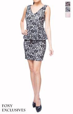 Zenith Low Back Peplum Lace Dress @ www.FoxyFame.com