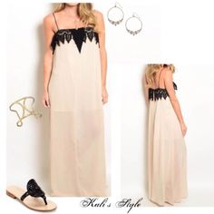 Lace detail maxi dress Blush toned sheer maxi dress with black lace detailing. Runs true to size. Very pretty and feminine look! Perfect for wedding season or date night! ❤️  Stock photos by April Spirit. Aakaa Dresses Maxi