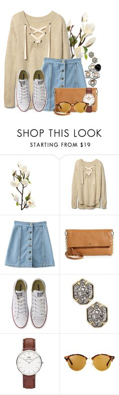 """""""Good morning Poly⭐️"""" by flroasburn ❤ liked on Polyvore featuring Gap, Tory Burch, Converse, Kendra Scott, Bobbi Brown Cosmetics, Daniel Wellington and Ray-Ban"""