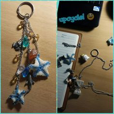 I didn't know what to do with the starfish so I took apart this old necklace and some charms and put em together.  Needs more glassy beads but I don't have any or the proper attachments.  I did my best. 😕