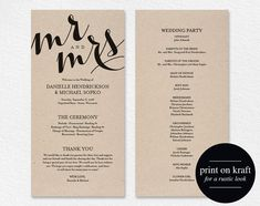Wedding Program Printable Template Printable Program Wedding