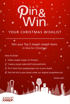 Wishing for some new Joseph Joseph kitchenware for #Christmas? Enter our Christmas Wishlist #competition to #win your top 5 Joseph Joseph items! Click here for more info> https://www.josephjoseph.com/en-gb/pinterest-christmas-wishlist/