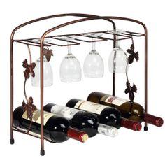 NEW Metal 8 Wine Bottle 8 Glasses Storage Display Rack, Tabletop Glass Holder