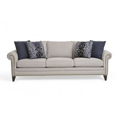 Chaise Sofa Elegantly styled with nail head trim and espresso finish legs adding to its refined look Lane FurnitureAustin TxSan