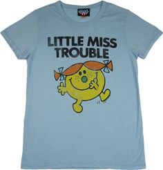 This licensed Little Miss shirt by Junk Food features a distressed print of the character Little Miss Trouble Cool Tees, Cool T Shirts, Tee Shirts, Junk Food Tees, Cartoon Outfits, Color Powder, Little Miss, Fabric, Mens Tops
