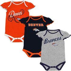 Denver Broncos Infant Girls Scalloped Sleeve 3-Pack Creeper Set - Ash Orange Navy  Blue 76a10fa75