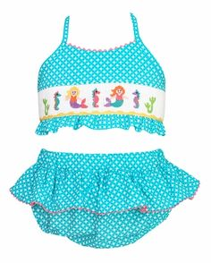 Claire & Charlie Girls Turquoise Print Smocked Mermaids Swimsuit - Two Piece Swimsuits, Bikinis, Swimwear, Swimsuit Edition, Turquoise, Bikini Girls, Mermaids, Claire, Tankini