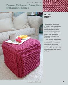 Tunisian Crochet Ottoman Cover, looks like a fun project!
