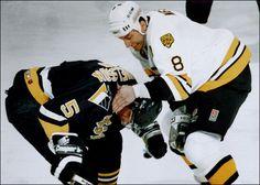 Cam Neely pounds Ulf Samuelsson   Boston Bruins   Pittsburgh Penguins   NHL   Hockey