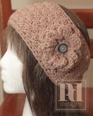 Staggered Shells Headband with Flower #crochet pattern