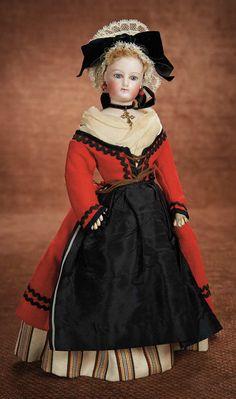 Petite French Bisque Poupee in Beautiful Original Folklore Costume 2200/2800