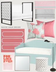 coral and robin's egg blue girls bedroom