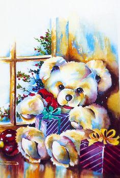 "Solveig Rimstad ~ teddy bear ""bearing"" gifts watercolor"