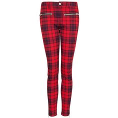 Mango Tartan Slim-Fit Trousers, Bright Red (40 AUD) ❤ liked on Polyvore featuring pants, jeans, bottoms, trousers, calças, plaid skinny pants, red skinny pants, red plaid pants, zipper pocket pants and red tartan pants