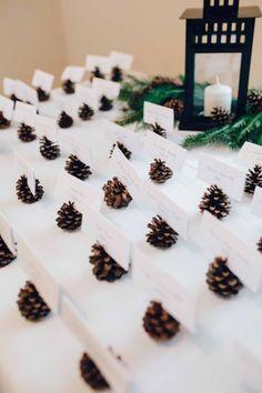 rustic chic stump wedding decorations/ rustic Christmas wedding table guest cards/ shabby winter wedding ideas