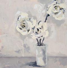 "Gary Bodner, ""White Linen I"", Mixed Media on Canvas, 30x30 - Anne Irwin Fine Art"