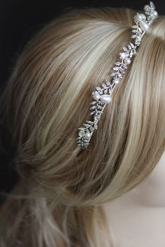 The Marisol wedding tiara is beautifully decadent with its low profile and Swarovski crystal details set onto an antique silver crown. Headpiece Wedding, Bridal Tiara, Wedding Veils, Bridal Headpieces, Wedding Crowns, Long Face Shapes, Drop Veil, Metal Headbands, Crystal Wedding