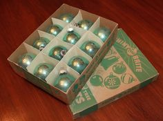 GORGEOUS Vintage Shiny Bright Christmas Ornaments in lovely Aqua! Set of 12 Glass Christmas Balls with Original Shiny Bright Box from the 1950s! https://www.etsy.com/listing/212400693/vintage-shiny-bright-christmas-ornaments