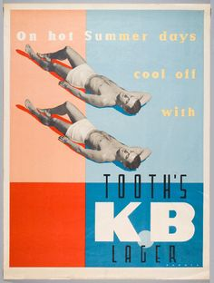 'On hot summer days cool off with Tooth's KB Lager' Advertising poster (about Major NSW Australian beer brand.