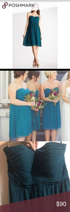 """Donna Morgan """"Sarah"""" dress in Jade Size 16, worn once, great condition!   Paid $189  Looks dull in the third picture, but I can guarantee that is just bad lighting. The color is a pretty deep teal! Donna Morgan Dresses Wedding"""