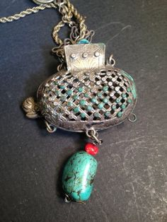 Chinese silver scent pouch pendant coral tourquise