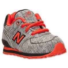 Boys' Toddler New Balance 574 Casual Shoes | Finish Line | Grey/Black/Orange