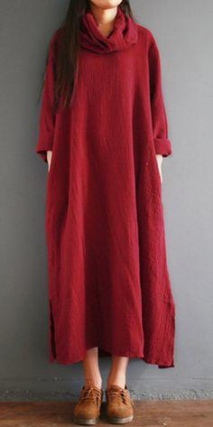 Gracila Vintage Pure Color Turtleneck Splited Long Sleeve Women Maxi Dresses