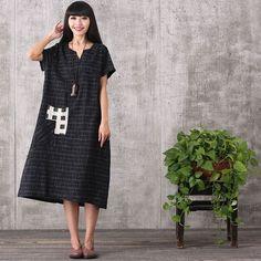 Women summer retro style loose cotton linen dress