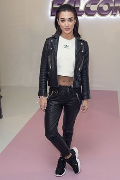 Amy Jackson attends Hailey Baldwin x Adidas show, Spring Summer London Fashion Week, UK Amy Jackson, Beautiful Bollywood Actress, Hailey Baldwin, Leather Pants, Bomber Jacket, Punk, Actresses, Adidas, Female