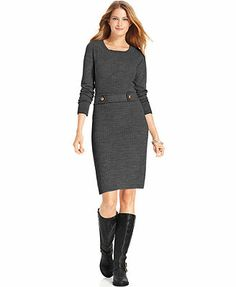 AGB Long-Sleeve Belted Cable-Knit Sweater Dress