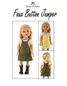 Forever 18 Inches Faux Button Jumper Doll Clothes Pattern 18 inch Journey Girls Dolls | Pixie Faire