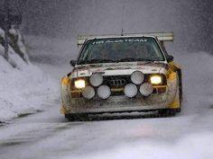 Audi Quattro in the snow. Audi Quattro, Sport Quattro, Sports Car Racing, Sport Cars, Race Cars, Audi 80, Audi Cars, Nissan Gt R, Rally Car