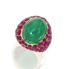 Gold, Chrysoprase and Ruby Ring, Suzanne Belperron, France, Circa 1940 Bling Bling, Jewelry Accessories, Jewelry Design, International Jewelry, Love Ring, Fine Jewelry, Jewellery, Gemstone Jewelry, Gold Rings