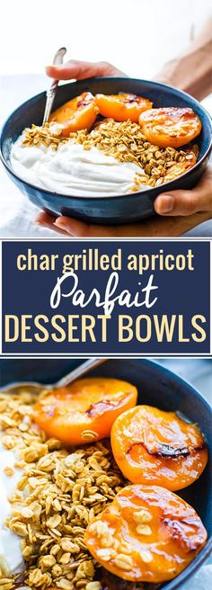 Gluten Free Char-grilled apricot parfait dessert bowls! These dessert bowls are great for dessert or breakfast. A light and simple dessert that's layered across with glazed grilled apricots, whipped coconut cream, and wholesome granola. Vegan Friendly.  /cottercrunch/