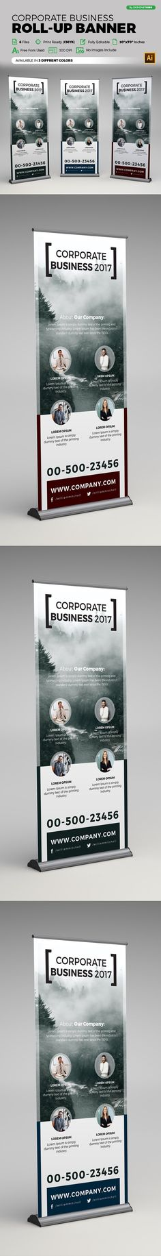 Corporate Roll Up Banner by Design'sTRIBE on Creative Market - Graphic Vital Corporate Branding, Corporate Business, Booth Design, Layout Design, Rollup Banner Design, Roll Up Design, Letterhead Template, Cool Business Cards, Banner Template