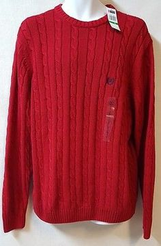 Chaps Sweater Size Large Dark Red Cable Knit Crewneck 100% Cotton