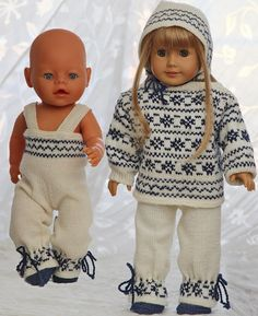 Norwegian sweater knitting patterns for 18 american girl dolls Knitting Dolls Clothes, Baby Doll Clothes, Knitted Dolls, Doll Clothes Patterns, Doll Patterns, Clothing Patterns, American Girl Outfits, Sweater Knitting Patterns, Baby Knitting