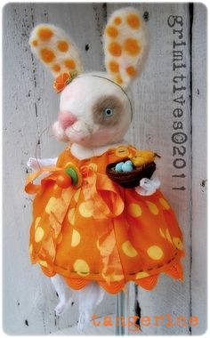 Tangerine - Grimitive Needle felted Bunny Spring Doll ... by doll artist Kaf Grimm of  GRIMITIVES, on Etsy