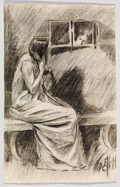 Edward Hopper, Study of a Seated Woman Styling Hair before Mirror, c. 1900