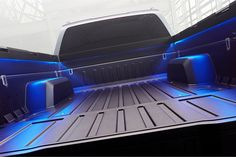 The bed features LED lights for working at night, multiple integrated tie-down points, and 110-volt outlets. - Automotive Fleet Magazine - www.automotive-fleet.com #fleet