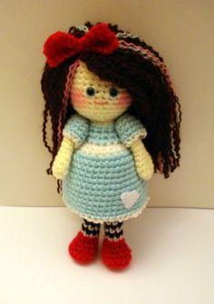 AllSoCute Amigurumis: Cute Curly Hair Amigurumi Girl / Kıvırcık saçlı örgü bebek  Color reference only
