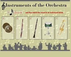 Listen and match the sound to one of the instruments pictured. Learn a little about each instrument! Music Lesson Plans, Music Lessons, 1st Grade Crafts, Montessori, Future Music, Music Activities, Family Activities, Music Classroom, Classroom Ideas