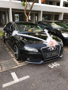Wedding Sport Car Decoration With White Ribbon